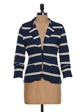 Navy Blue Striped Blazer - STREET 9