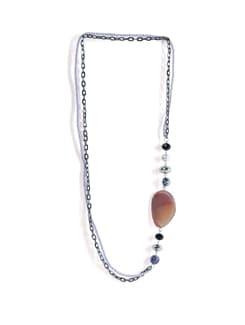Long Necklace With Brown Stone - Tribal Zone