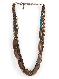 Brown-blue Beaded Necklace - Tribal Zone