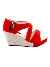 Red Side Zipper Strappy Wedges - Grafion