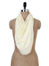 White And Yellow Polka-dotted Stole - Jaipur Vogue