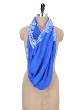 Blue And White Printed Stole - Jaipur Vogue