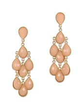 Peach Stone Chandelier Earrings - Fashionography