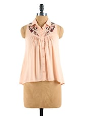 A-Line High-Low Shirt With A Floral Print - Collezioni Moda