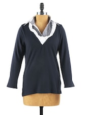 Navy Long Sleeved Jumper Shirt - Collezioni Moda