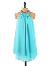 Beaded Collar Chiffon Turquoise Dress - Collezioni Moda