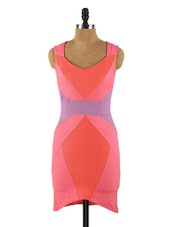 Colour Block Pink Bodycon Dress - Collezioni Moda