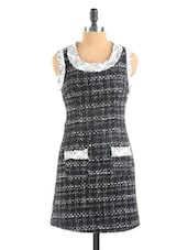 Textured Black And Ivory Textured Dress - Collezioni Moda