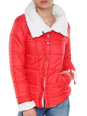 Red Jacket With White Collar - TREND SHOP