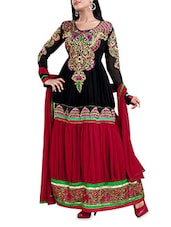 Unstitched  Black & Red Embroidered Dress Material - 7 Colors Lifestyle
