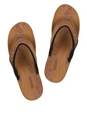 Brown Printed Slippers - Tiptop