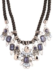 Blue And White Crystal Embellished Necklace - Style Fiesta