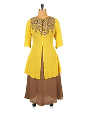 Yellow Jacket Style Tunic With Embroidered Neckline - RiniSeal