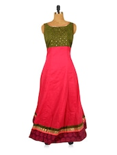 Pink Long Dress With A Green Yoke - RiniSeal