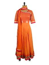 Orange And Pink Long Anarkali Suit Set With A Printed Yoke - RiniSeal