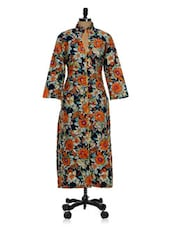 Navy Blue And Orange Printed Long Kurta - Tissu
