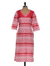 Pink And White Printed Long Kurta - Tissu