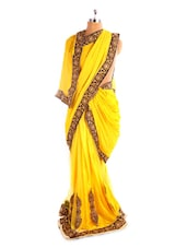 Bright Yellow Saree With Gold Border - Fabdeal