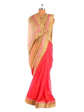 Coral And Beige Saree With Gold Border - Fabdeal