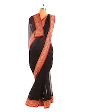 Solid Black Saree With Gold Border - Fabdeal