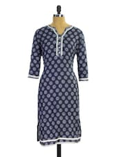 Navy Blue And Grey Printed Kurti - Pothys