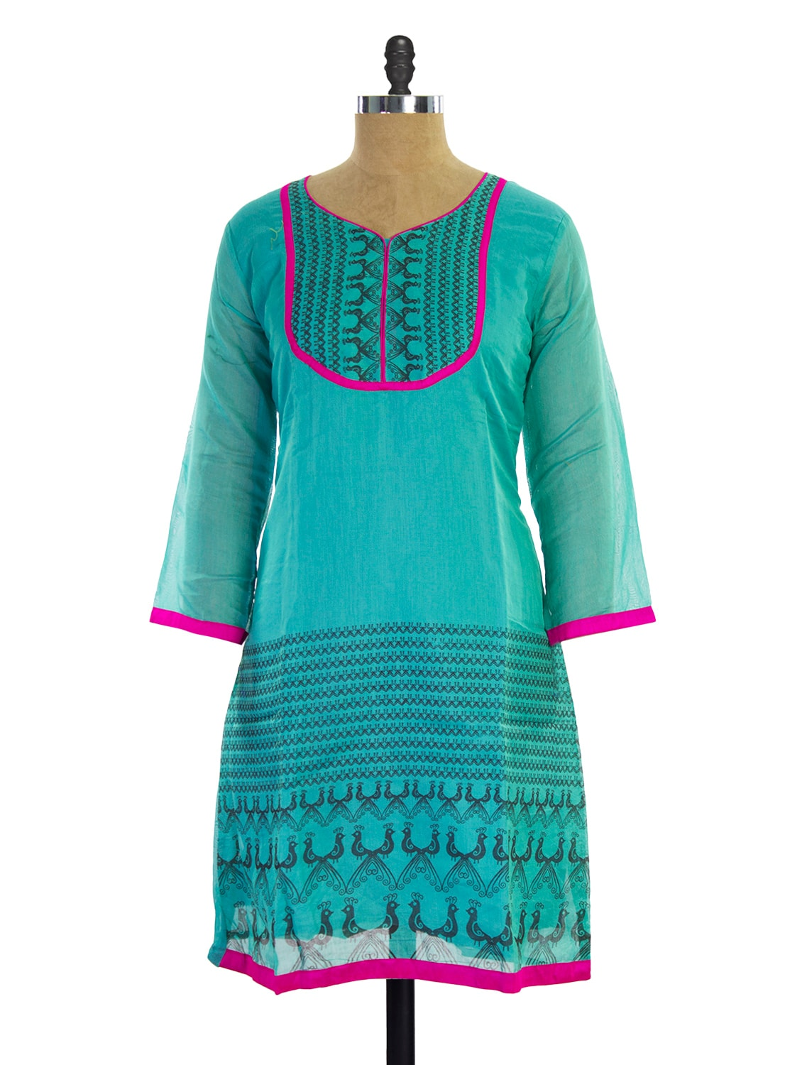 Bright Blue Printed Kurti - Pothys