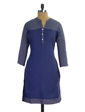 Navy Blue And White Printed Kurti - Pothys