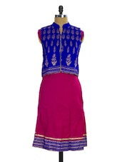 Blue And Magenta Jacket Style Kurti - Pothys
