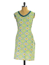 Green And Blue Printed Kurti - Pothys