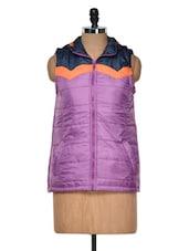 Lavender Sleeveless Bomber Jacket - Yepme