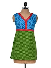 Green And Azure Printed Kurti - Yepme