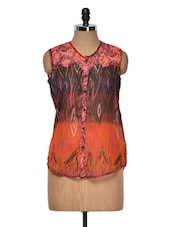 Orange And Black Printed Top - Yepme