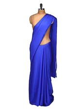 Chiffon Satin Royal Blue Saree With Golden Net & Blue Thread Work Blouse - Purple Oyster