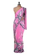 Pink Georgette Saree - Purple Oyster