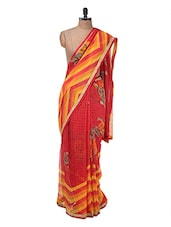 Red And Orange Floral Georgette Saree - Purple Oyster