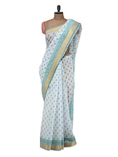 White And Blue Cotton Saree - Purple Oyster