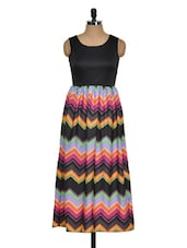 Zig-Zag Print Multi-coloured Dress - Golden Couture