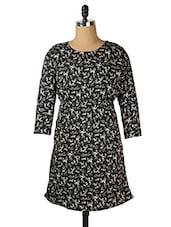 Black Reindeer Print Dress - Purys
