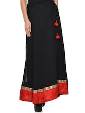Solid Black Flared Skirt With Red Hem - NAVYOU