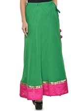 Solid Green Flared Skirt With Pink Hem - NAVYOU