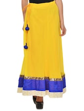 Solid Yellow Flared Skirt With Blue Hem - NAVYOU