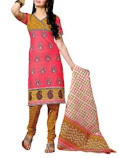 Pink And Brown Printed Un-stitched Dress Material - Fabdeal