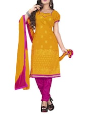 Yellow And Pink Un-stitched Dress Material - Fabdeal
