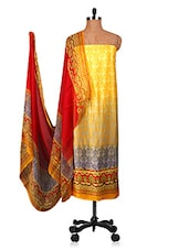 Yellow And Red Un-stitched Dress Material - Fabdeal