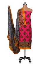 Printed Pink And Black Unstitched Suit Set - Fabdeal