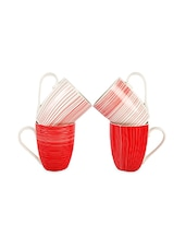 Red And White Printed Mug Set - By
