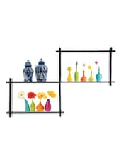 BLACK KNICK KNACK WALL SHELF - Oakwood
