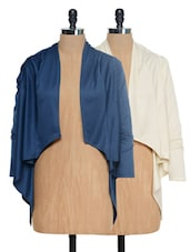 Blue And Beige Shrug Set - @ 499