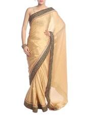 Solid Gold Saree With Black Border - Saraswati