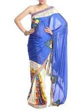 Royal Blue And Cream Floral Saree - Saraswati